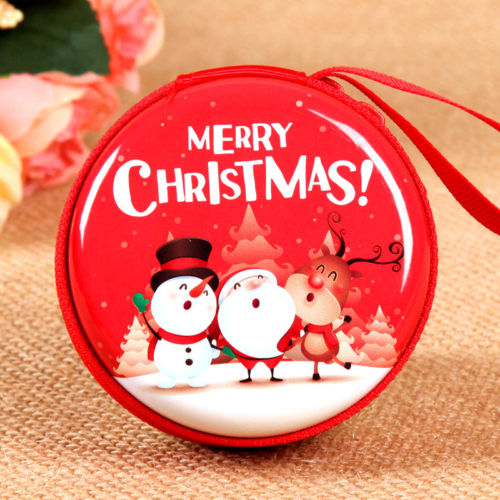 christmas Cute Cartoon Coin Purses xmas Girls Key Case Wallet Children Mini Round Coin Holder Case Christmas Series Gift