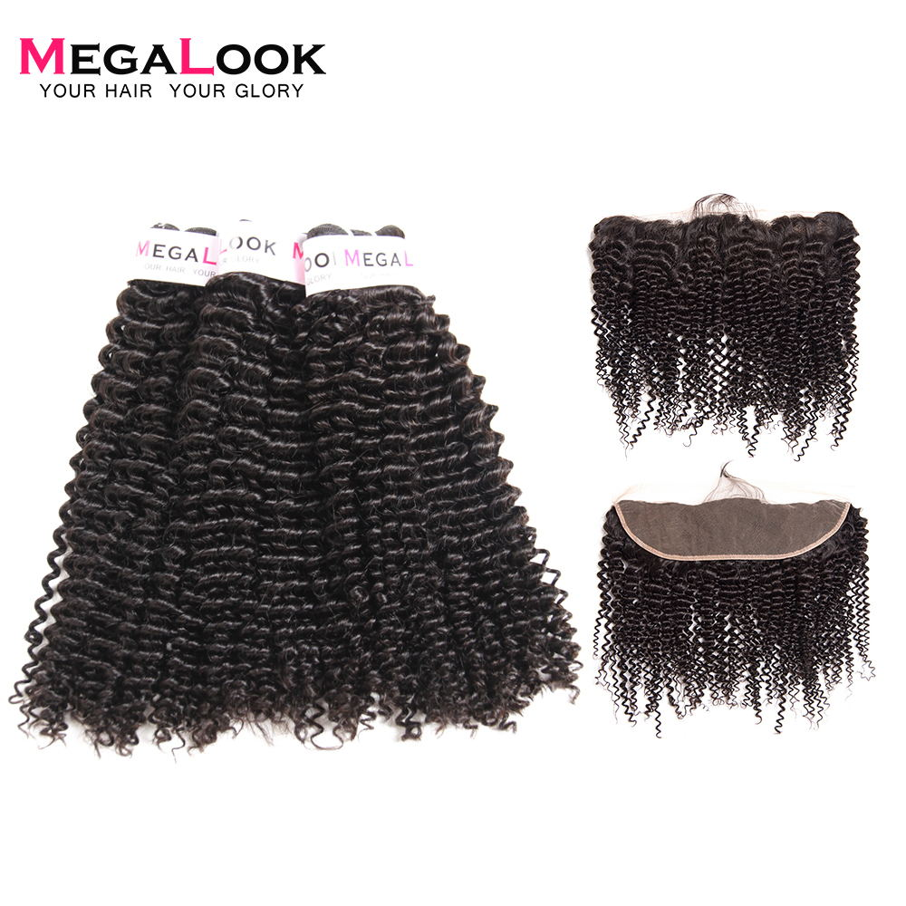 Megalook Indian Kinky Curly Hair Bundles With Frontal 3pcs 100% Remy Human Hair With Lace Front Closure