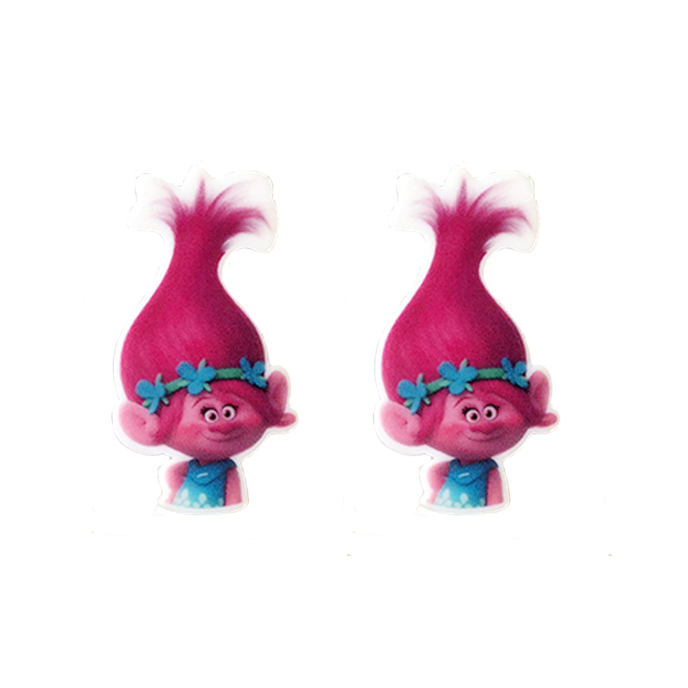 32x26mm 10Pcs Cartoon Trolls Resin Planar Red Hair Poppy Princess Cabochons Craft DIY Brooch Kids Birthday Thema Party Jewelry