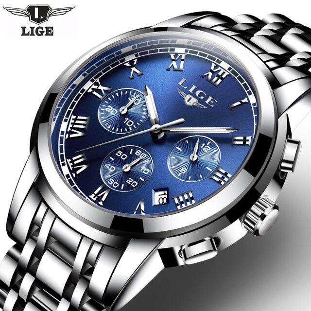 2017ใหม่นาฬิกาผู้ชายแบรนด์หรูLIGEโครโนกราฟผู้ชายกีฬานาฬิกากันน้ำเต็มเหล็กควอตซ์ผู้ชายนาฬิกาRelógio Masculino