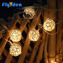 Guirlande lumineuse pour vacances de noël, nouvel an, intérieur et extérieur pour arbre de noël, LED boules de rotin