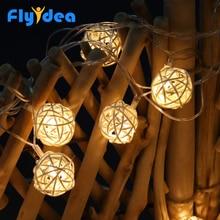 Noworoczne świąteczne lampki świąteczne wewnątrz i na zewnątrz choinki dekoracyjne światła LED kulki rattanowe girlandy