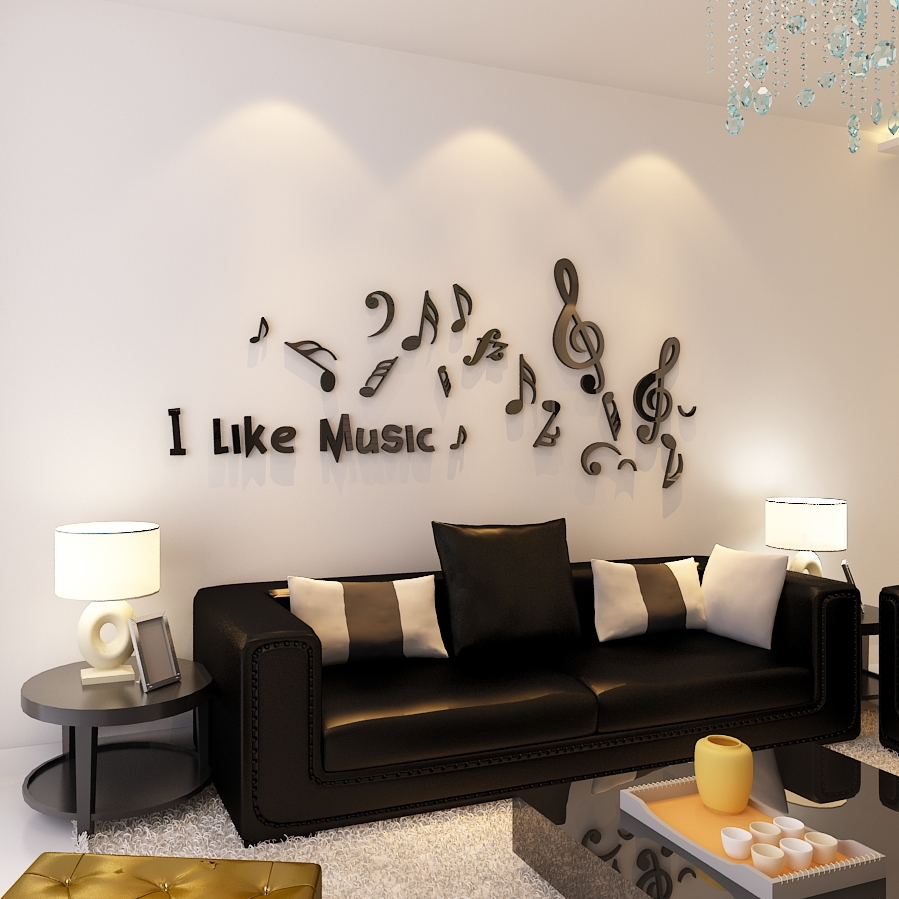 US $6.72 52% OFF|Art 3D Wall Stickers School Music Room Childerns Room  Decorations Wall Stickers Home Decor Music Note Sticker Decals Black Red-in  ...