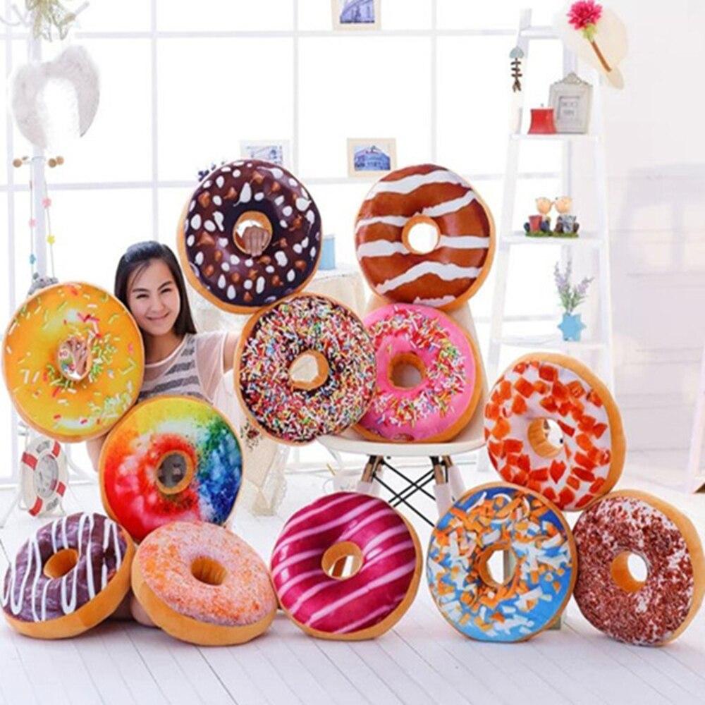 Nuevo 3D Donuts almohada comida forma almohada cojín para apoyarse en juguetes de peluche Donuts siesta juguete creativo hogar esencial