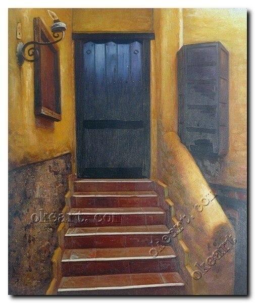 Escaleras y puerta de la casa vieja impresionismo pintura - Pintura para escaleras ...