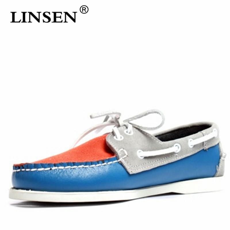 Affaires à lacets Bout Rond Plat Respirant chaussures pour hommes Printemps Automne Chaussures Bateau Homme Classique En Cuir Marron décontracté Couple Chaussures