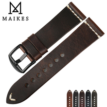 MAIKES Quality Watch Band Oil Wax Leather Strap Vintage Dark Brown Accessories Watchbands 20mm 22mm 24mm For Fossil