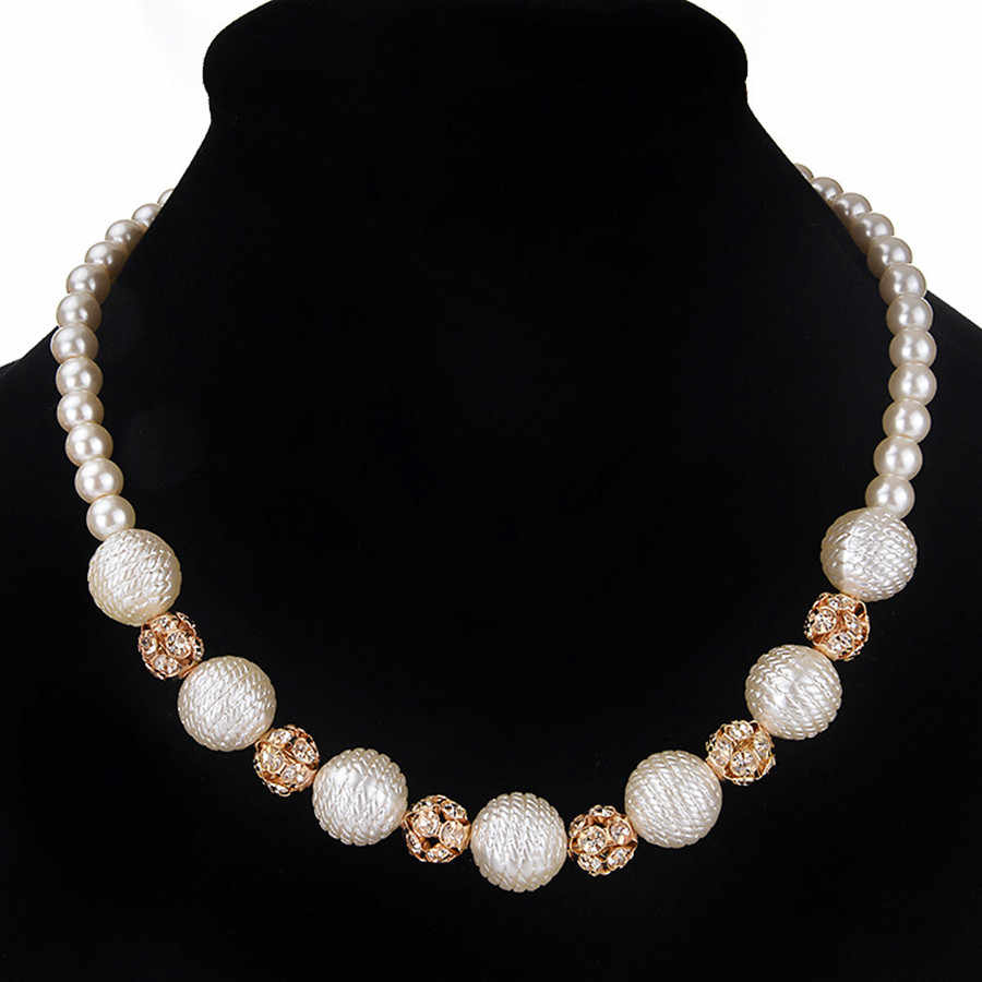 Perfectly Round Simulated Pearl Women Necklace Full Rhinestone Ball Bridal Wedding Colliers Choker Beads Sweater Chain Necklaces