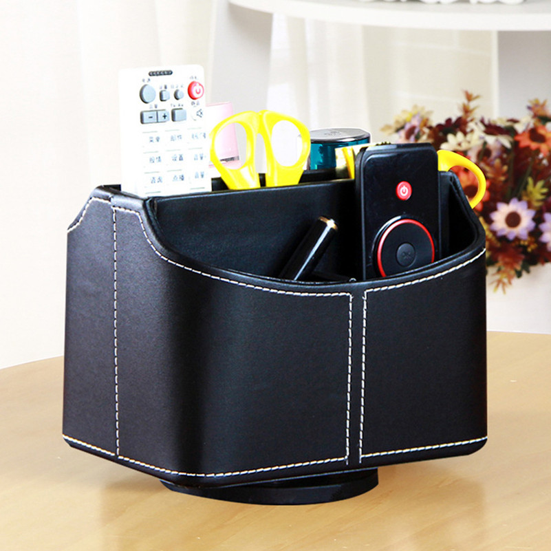 Storage Box Organizer High Grade PU Leather Desk Storage Container case for Desktop Mobile Phone Remote Control 5 Compartments