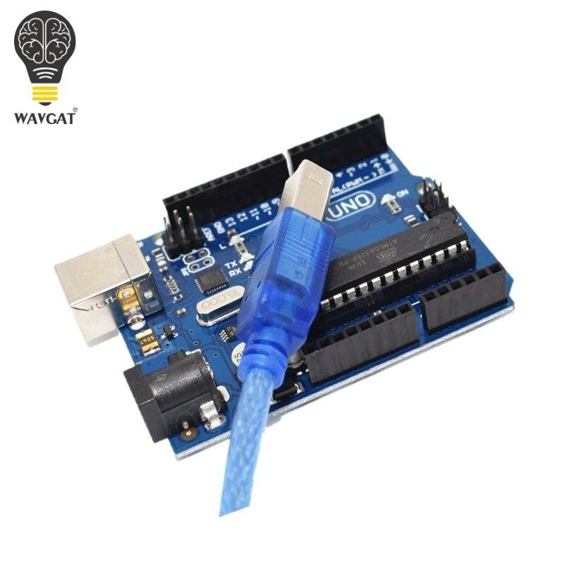 Uno r3 para arduino (com logotipo) mega328p atmega16u2 1 pces uno r3 + 1 pces cabos