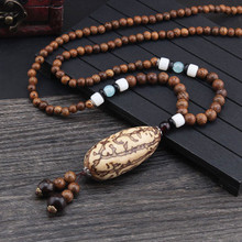 Ethnic Style Natural Stone Ceramic Crafts Bodhi Wood Pendant Necklace Religious Buddha Beaded Jewelry For Woman
