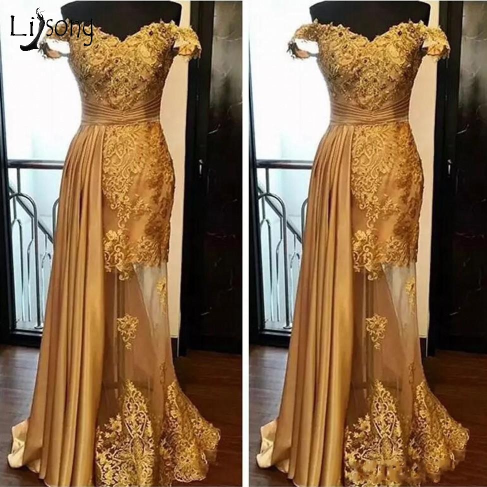 Abiye Gold Lace Evening Dresses With Sparkle Crystal Sexy Illusion Long Evening Gowns Abendkleider Sexy Pron Gowns Off Shoulder