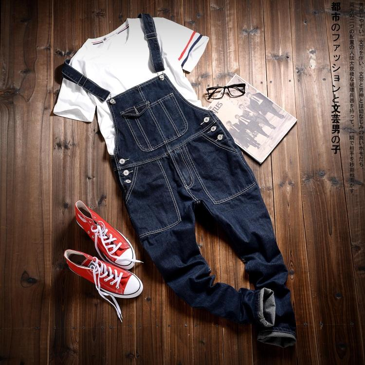 Spring pants male slim jeans Korean conjoined Japanese jeans washing feet personality