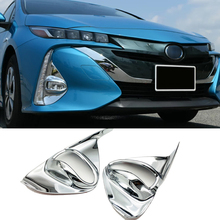 цена For Toyota Prius Prime PHV 2017 2018 ABS Chrome Front Fog Light Fog Lamp Cover Trim 2pcs Car Styling Accessories
