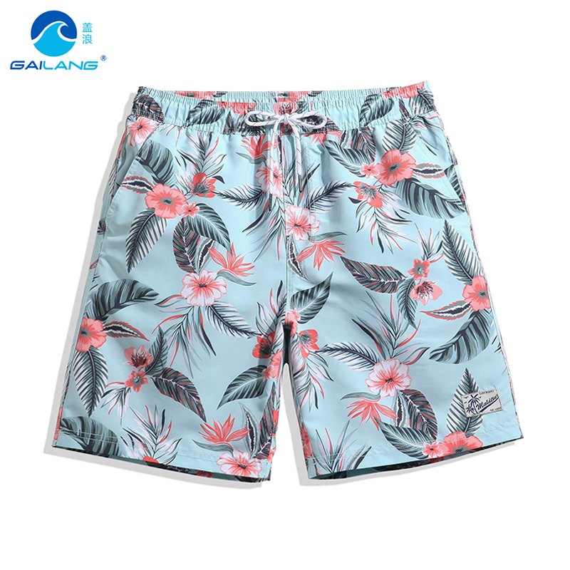 Gailang pasangan boardshorts liner sports swimsuit mens print flowers bermudas siwmming trunks beach surfing bath suit suit joggers