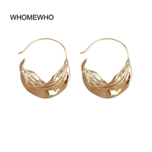 Gold Silver Hammered Metal Geometric Round Leaf Minimalist Minimalism Big Hoop Earring Fashion Trending Women Party Ear Jewelry