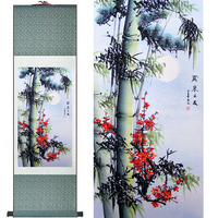Bamboo Painting Home Office Decoration Chinese scroll painting pine trees, bamboo and yellow plumPrinted painting