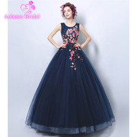 AOLANES Floral Embroidered Tulle Ball Gown with Scoop Neck Navy Blue Pom Dresses Long 2018 Vestido De Noche Formal Evening Dress