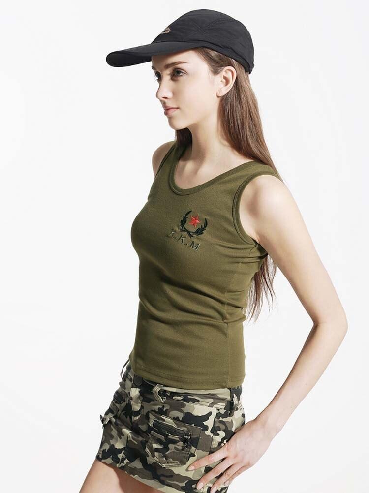 Женская футболка, хлопковая, милая, модная, камуфляжная, Женская майка, низкая, термо, Женская майка, Облегающая майка - Цвет: women army green