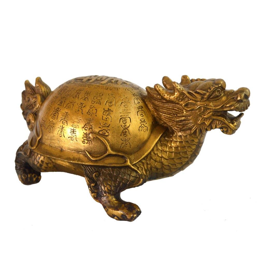 Feng Shui laiton longévité Dragon tortue Statue Figurine W gratuit Mxsabrina rouge chaîne Bracelet M4015 - 4