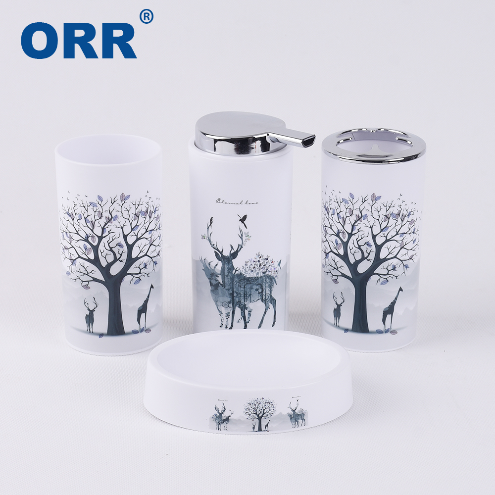 Bathroom set accessories Free shipping toilet brush soap dish washing tumbler toothbrush cup dustbin soap dispenser ORR in Sanitary Ware Suite from Home Improvement