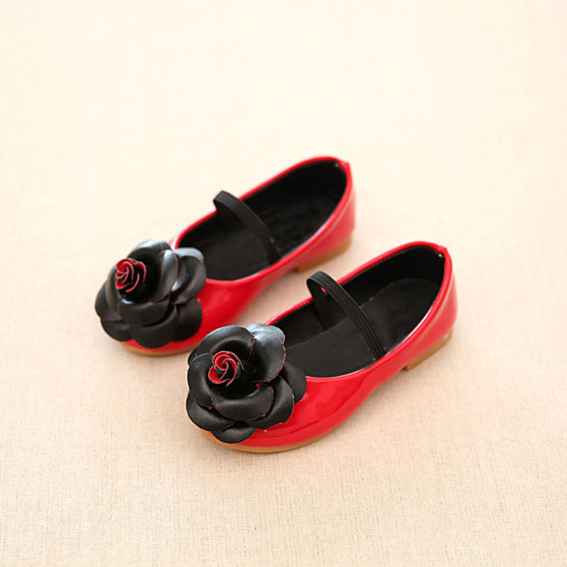 2020 New Flower Girl Shoes Children's Clothing Black Red Pink Flat Shoes Children's Princess PU Girl's Shoes Size 21-36