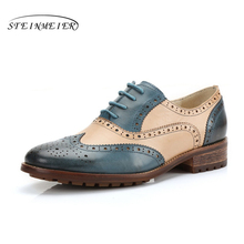 Genuine sheepskin leather brogues Yinzo woman flats shoes blue red black handmade vintage oxford shoes for women 2019 spring genuine leather designer brogues vintage yinzo flats shoes handmade oxford shoes for women 2018 spring red brown beige