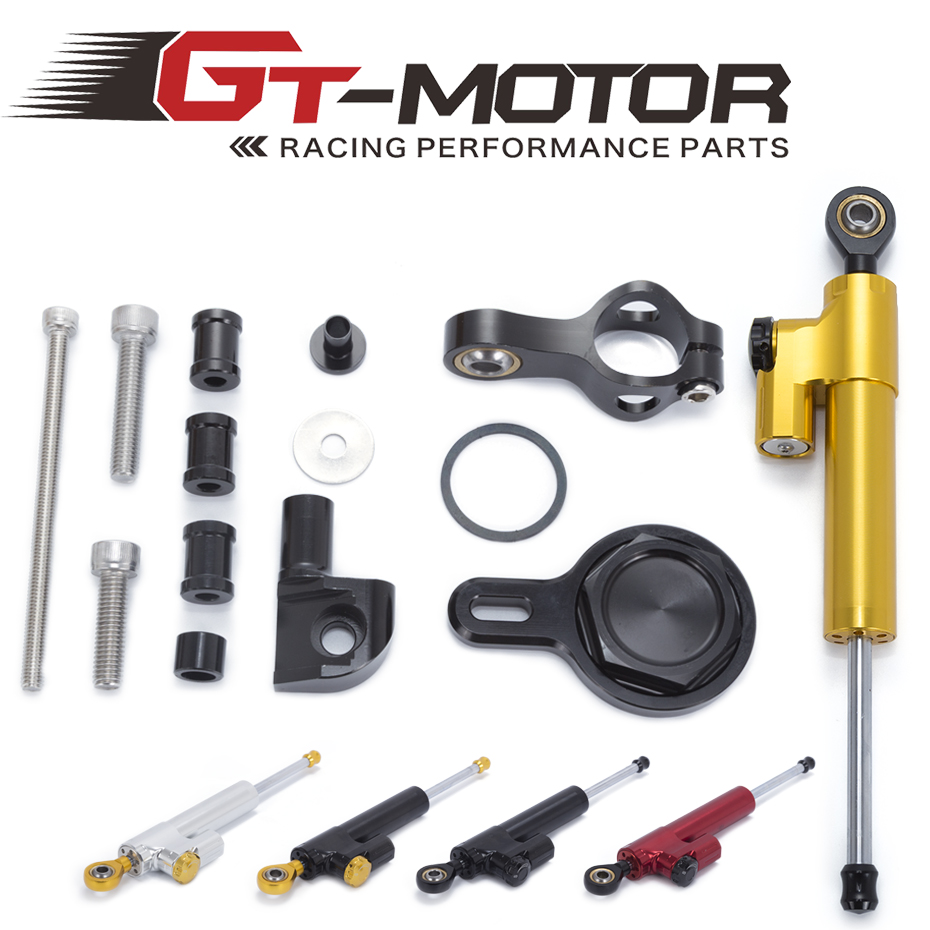 GT Motor Motorcycle CNC Damper Steering StabilizerLinear Reversed Safety Control Bracket For YAMAHA R1 1998 2001