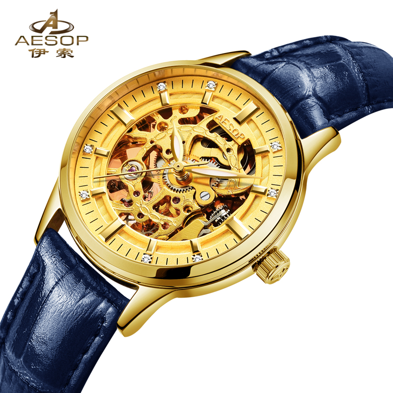 Luxury Brand Sapphire Automatic Mechanical Watch Women Genuine Leather Watch 30M Waterproof Diamond Ladies Dress Watches relogio 2018 ailang sapphire automatic mechanical watch mens top brand luxury waterproof brown genuine leather watch relogio masculine