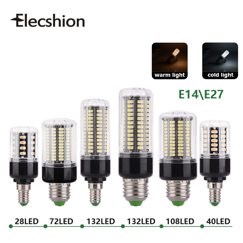 E27 E14 LED corn lamp AC220V 110V SMD5736 BULBs 3W 5W 7W 8W 12W 15W Spotlight 48 40 72 108 132 156leds AC85-265V lampada light energy efficient 7w e27 3014smd 72led corn bulbs led lamps