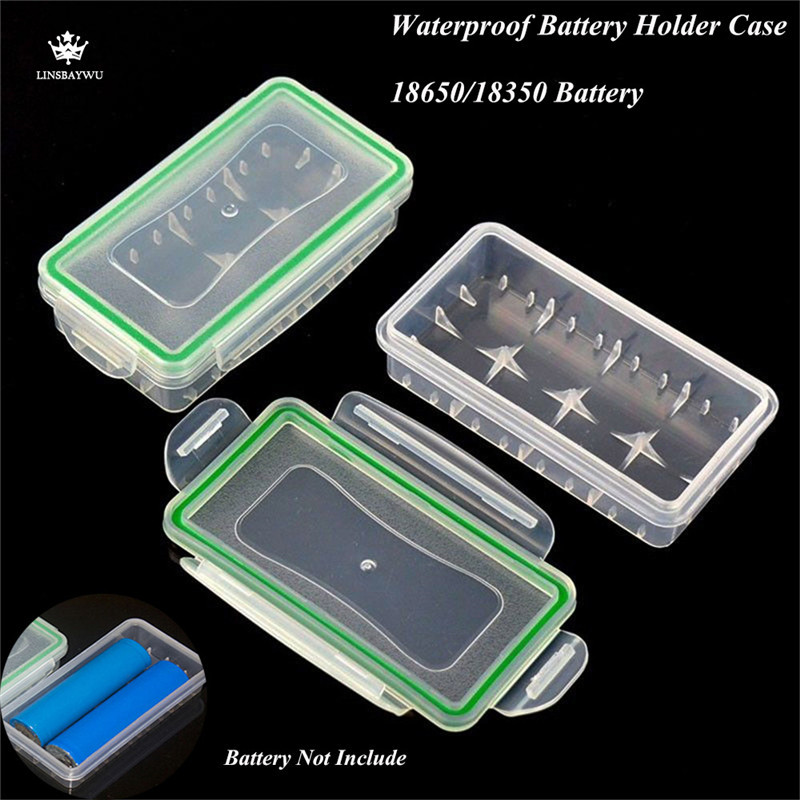 2Pcs/Set Waterproof Battery Holder Transparent Case Cover Hard Wear-resistant Battery Storage Box Case for 18650/18350 Battery