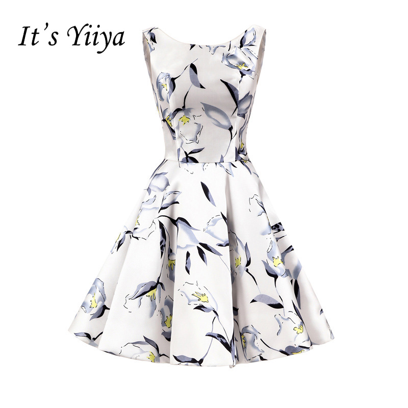 It's YiiYa Sex Flowers Sleeveless Zipper Floral Print Taffeta Ball Gown   Cocktail     Dresses   Knee Length Formal   Dress   Party Gown 362