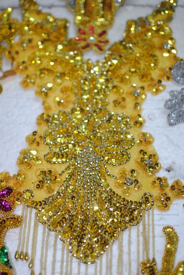 font b Big b font Size Sequined applique trims embroidery paillette patches flower beaded V