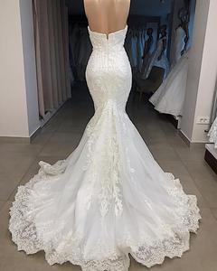 Image 4 - Lüks boncuklu Mermaid dantel düğün elbisesi seksi Cap Sleeve gelinlik özelleştirilmiş süpürme tren gelin elbise Robe de Mariee