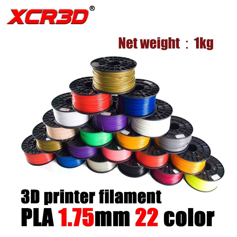XCR3D imprimante 3D PLA filament 1.75mm haute qualité consommables d'impression 22 couleurs en option