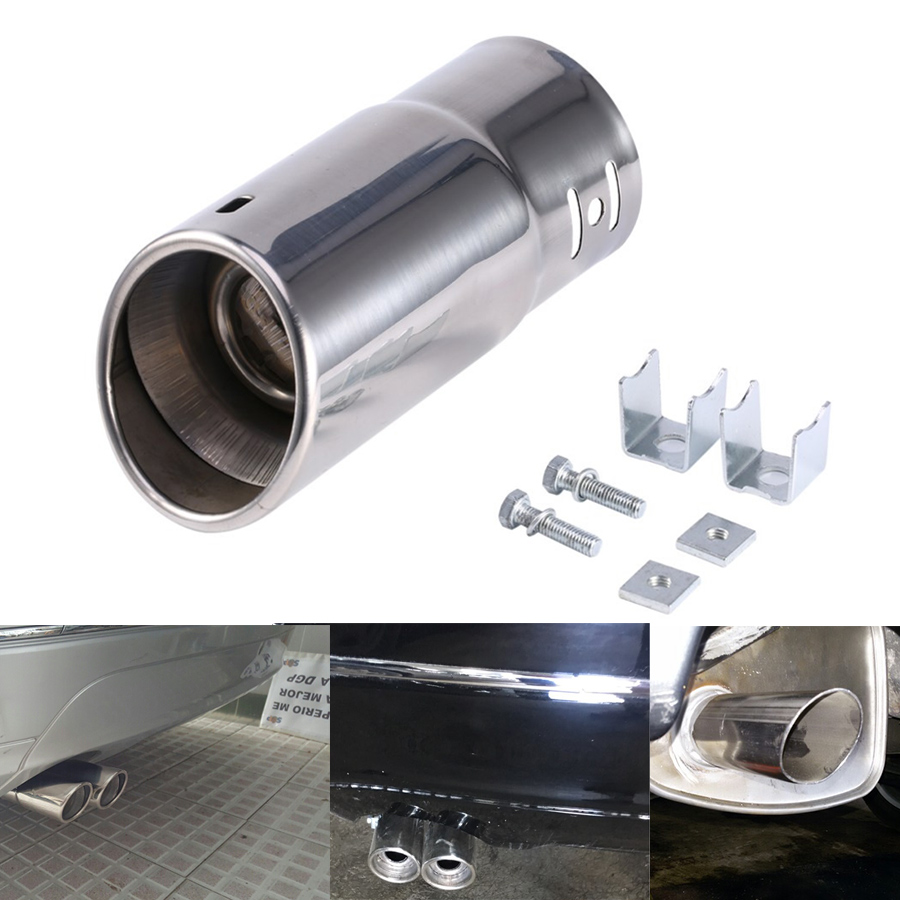 1pcs Vehicle Car Exhaust Muffler Stainless Steel Tail Pipe Chrome Trim Modified Tip Car Rear Tail Throat Liner Accessories