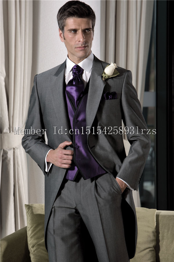 Latest Design Dark Grey Groom Tuxedos Lapel Best Man Suit Wedding ...