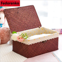 Sea straw hand made storage box with lid linen finishing box makeup sundries organizer container rectangle tea box picnic basket