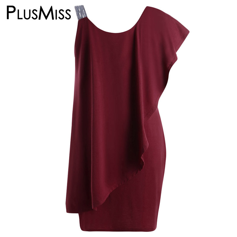 PlusMiss Plus Size 5XL Sexy One Shoulder Ruffle Sequin Mini Short Dress Women Clothes Large Size Bodycon Evening Party Dresses