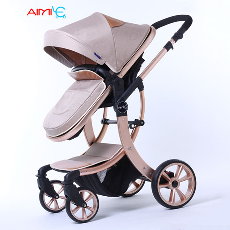 Baby Stroller Europe New Luxury Baby Carriage 2 In 1 High Landscape Three Dimensional Four Round Stroller Cart pram russian wholesale new luxury baby stroller 3 in 1 high landscape three dimensional four round baby stroller carts strollers