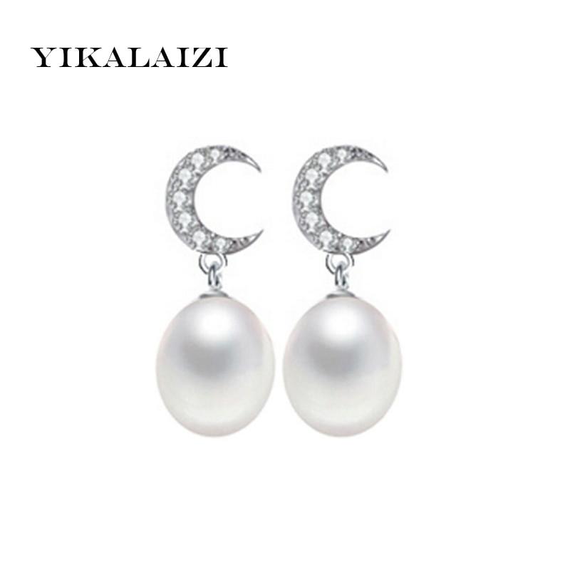 YIKALAISI 2017 nový 8-9mm AAAA přírodní sladkovodní perlové náušnice šperky pro ženy 925 šterlinků stříbrné šperky perly pro ženy