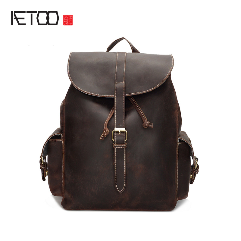 AETOO Crazy horse leather shoulder bag leather head layer multi-functional large-capacity backpack handmade bag leather aetoo crazy horse skin large capacity shoulder bag male imports the first layer of leather handmade backpack female travel bag