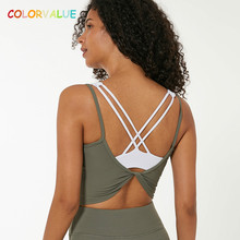 Colorvalue Ribbed Fabric Backless Fitness Gym Sport Crop Tops Women Breathable Back Twist Workout Running Yoga Vest Tank