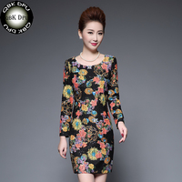 2018 Spring Women S Fashion Lace Printed Floral Dress Casual Slim Wrap Hip Paillettes Dress Evening