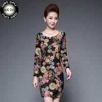 2018 Spring Women S Fashion Lace Printed Floral Dress Casual Slim Wrap Hip Paillettes Dress Evening