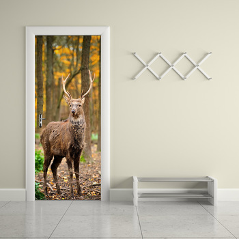 3D Print Animal Deer Poster PVC Waterproof Entire Door Sticker Creative Stickers Door Wall Sticker For Bedroom Home Decor
