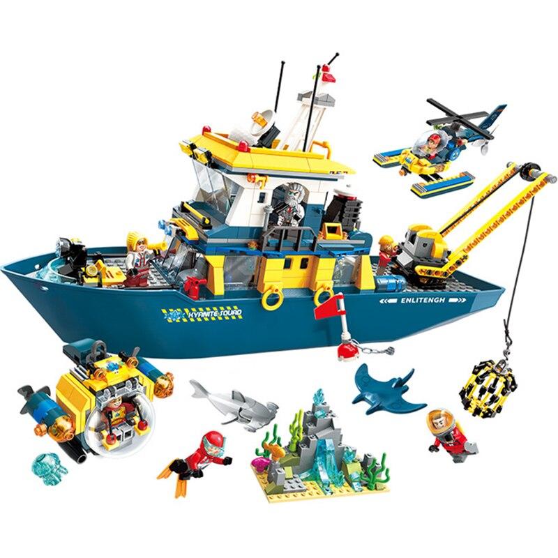 ENLIGHTEN Diving Spar shark Mining Delta command Ship Boat Building Blocks Sets Bricks Model Kid Toy