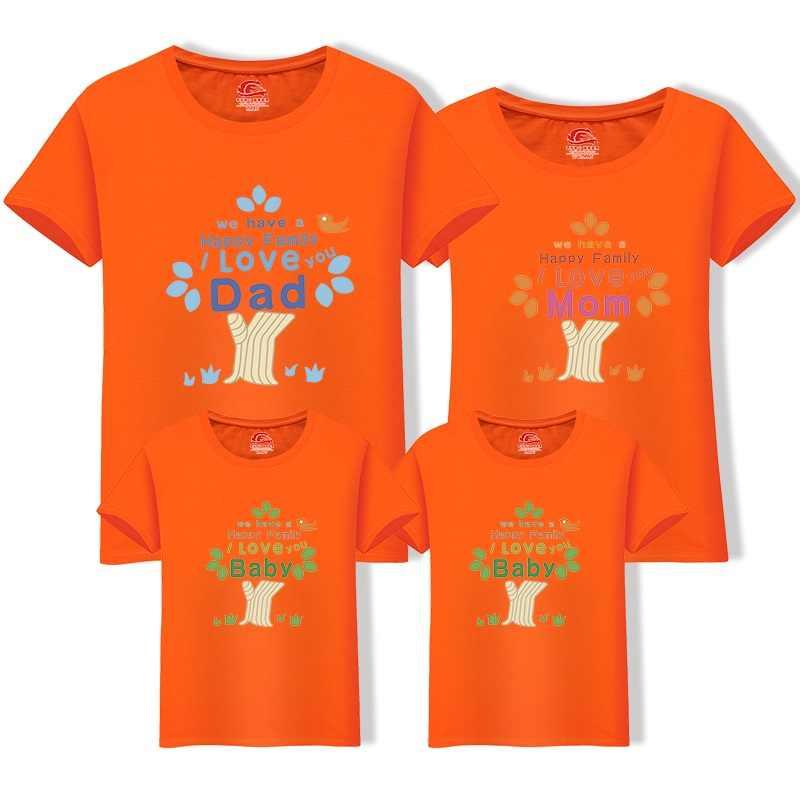 Famiglia Sguardo T-Shirt Albero di Cotone Papà Figlio T Camicia Outfit Uguali per la Famiglia Magliette Magliette e camicette di Estate Padre e Me Madre Figlia Vestiti
