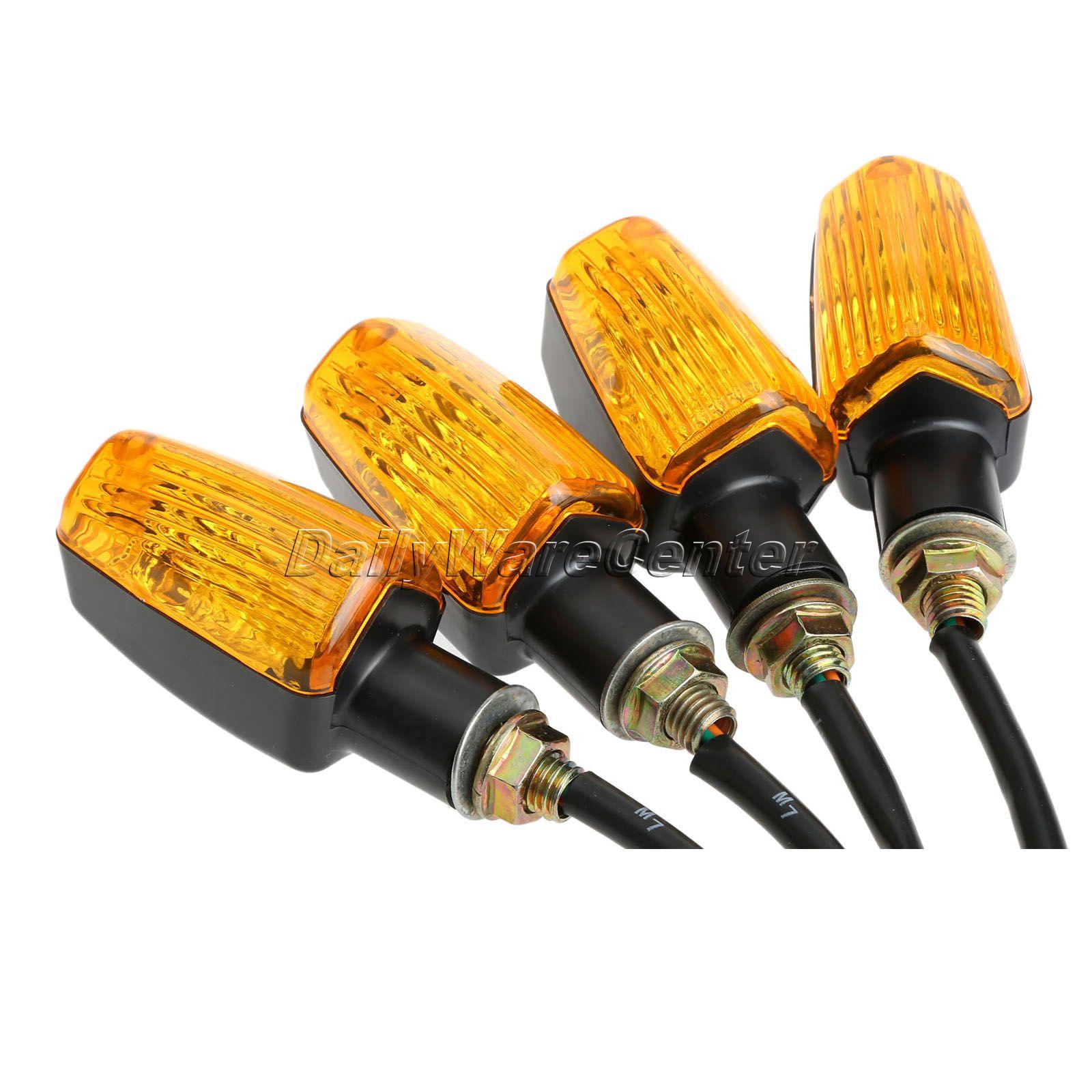 4Pcs set 12V Universal Motorcycle Turn Signal Indicator Light Turning Amber font b Lamp b font