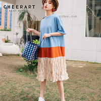 Cheerart Designer Plissee T Shirt Dress Blue Patchwork Color Block Casual Dress Summer Knee Length Loose Fashion Dress Clothes